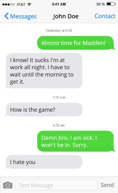 madden texts
